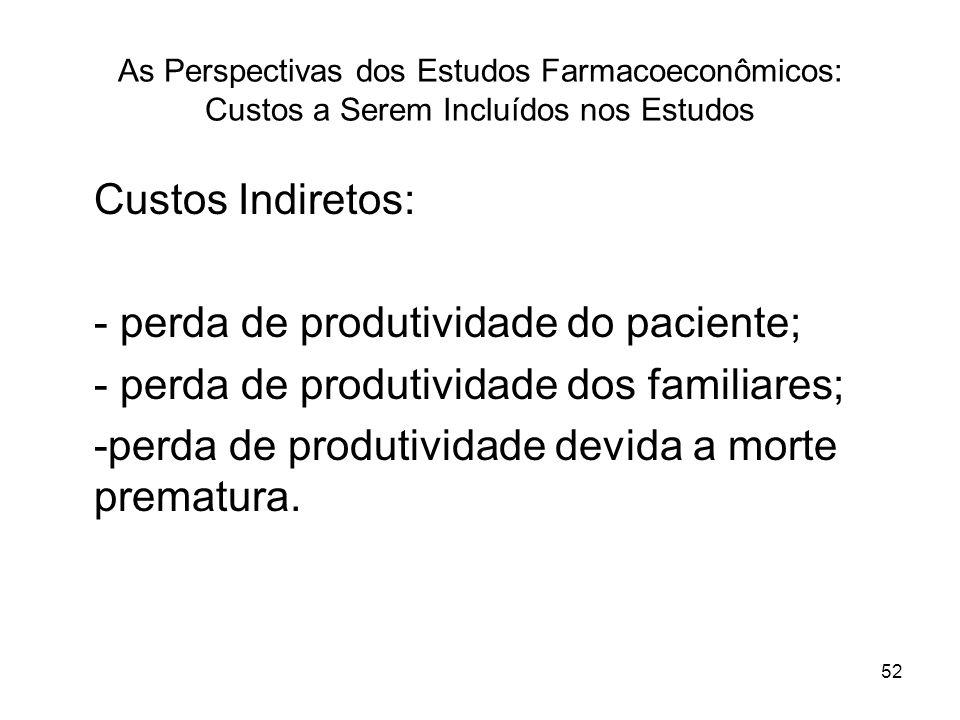 52 As Perspectivas dos Estudos Farmacoeconômicos: Custos a Serem Incluídos nos Estudos Custos Indiretos: - perda de produtividade do paciente; - perda