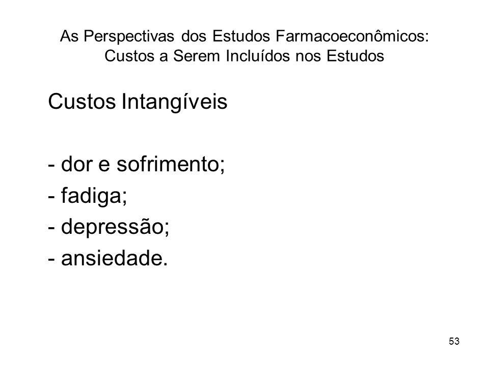 53 As Perspectivas dos Estudos Farmacoeconômicos: Custos a Serem Incluídos nos Estudos Custos Intangíveis - dor e sofrimento; - fadiga; - depressão; -