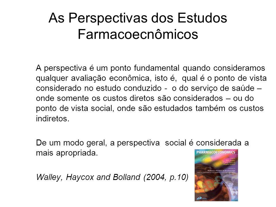 As Perspectivas dos Estudos Farmacoecnômicos A perspectiva é um ponto fundamental quando consideramos qualquer avaliação econômica, isto é, qual é o p