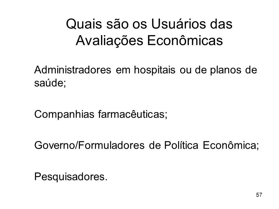 57 Quais são os Usuários das Avaliações Econômicas Administradores em hospitais ou de planos de saúde; Companhias farmacêuticas; Governo/Formuladores