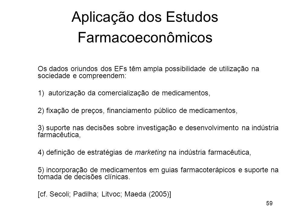 59 Aplicação dos Estudos Farmacoeconômicos Os dados oriundos dos EFs têm ampla possibilidade de utilização na sociedade e compreendem: 1) autorização
