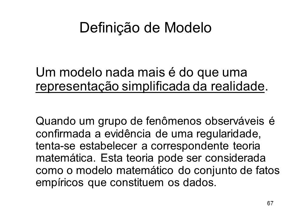67 Definição de Modelo Um modelo nada mais é do que uma representação simplificada da realidade. Quando um grupo de fenômenos observáveis é confirmada
