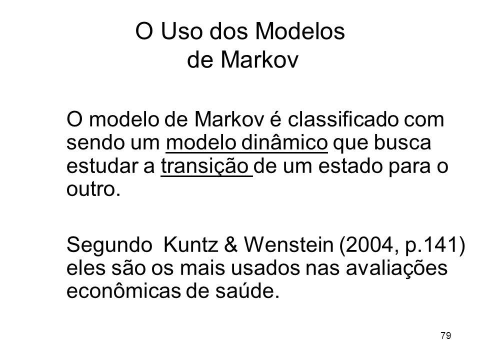 79 O Uso dos Modelos de Markov O modelo de Markov é classificado com sendo um modelo dinâmico que busca estudar a transição de um estado para o outro.