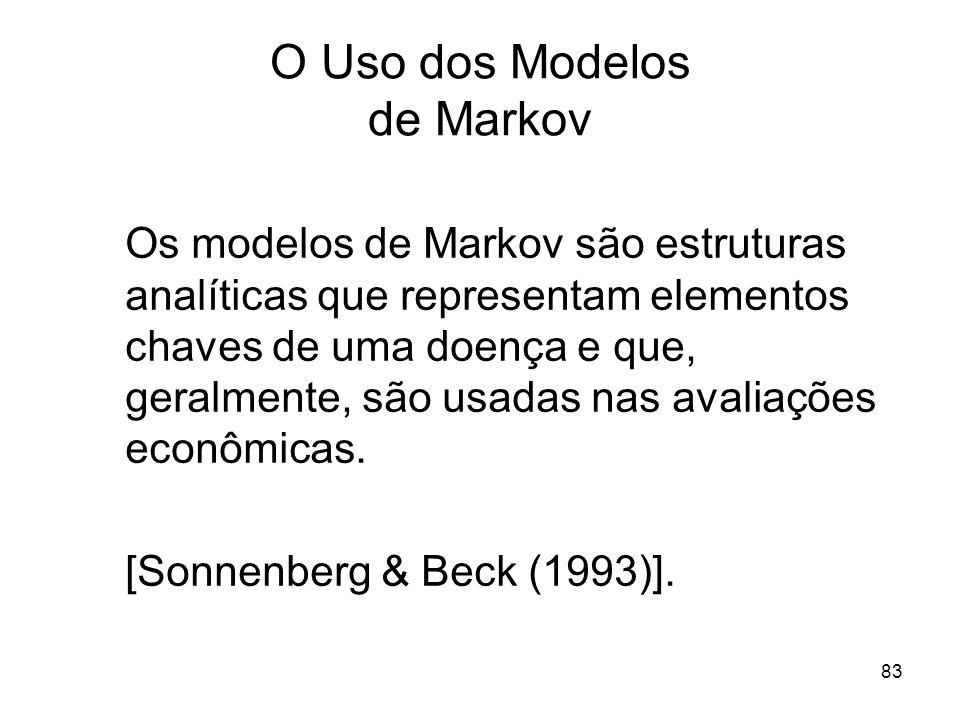 83 O Uso dos Modelos de Markov Os modelos de Markov são estruturas analíticas que representam elementos chaves de uma doença e que, geralmente, são us