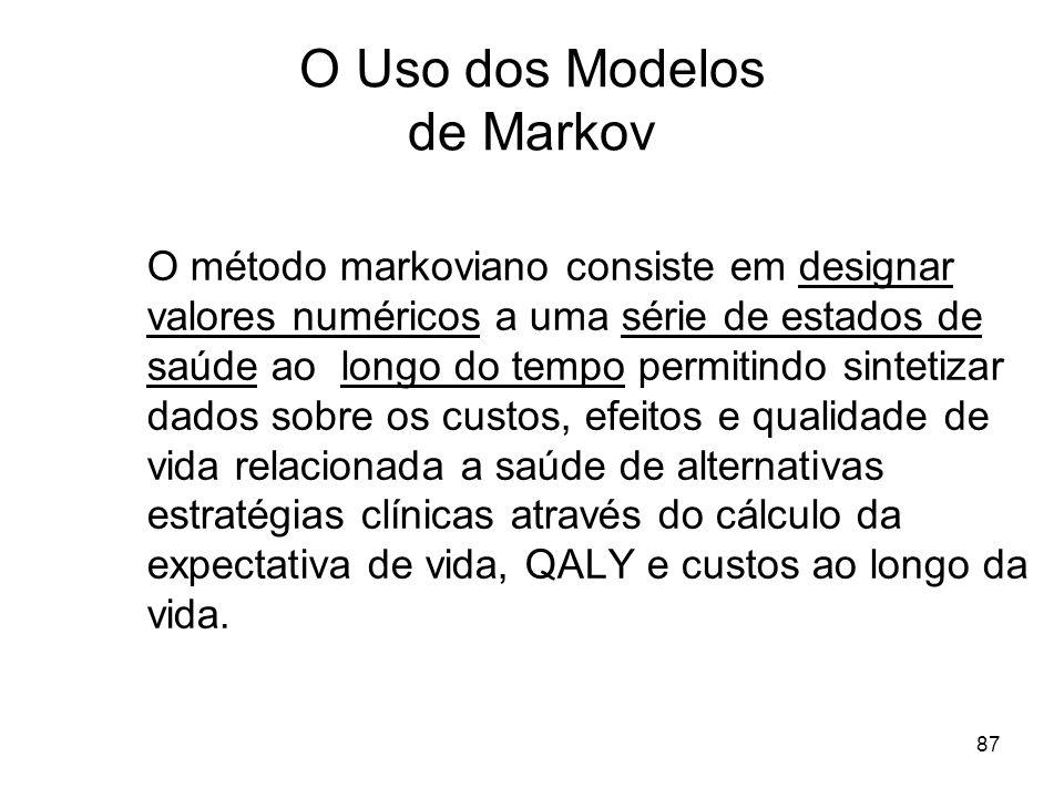 87 O Uso dos Modelos de Markov O método markoviano consiste em designar valores numéricos a uma série de estados de saúde ao longo do tempo permitindo