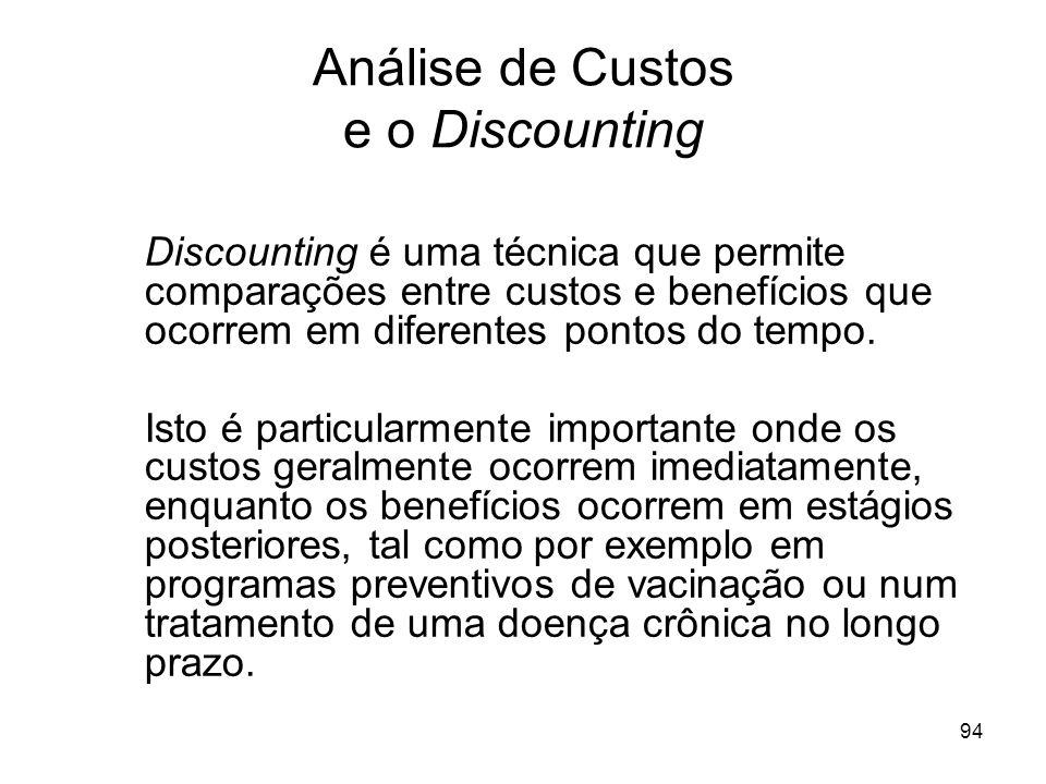 94 Análise de Custos e o Discounting Discounting é uma técnica que permite comparações entre custos e benefícios que ocorrem em diferentes pontos do t