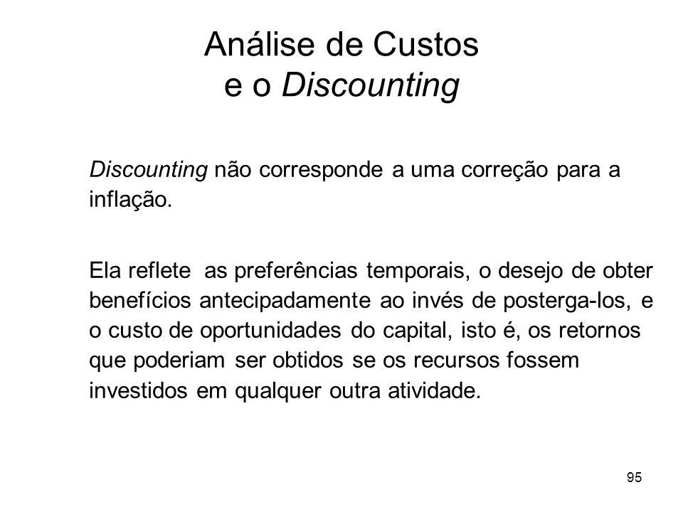95 Análise de Custos e o Discounting Discounting não corresponde a uma correção para a inflação. Ela reflete as preferências temporais, o desejo de ob