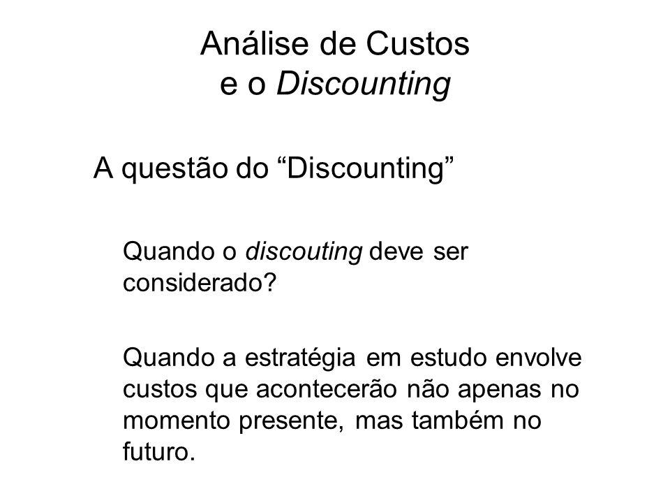 Análise de Custos e o Discounting A questão do Discounting Quando o discouting deve ser considerado? Quando a estratégia em estudo envolve custos que