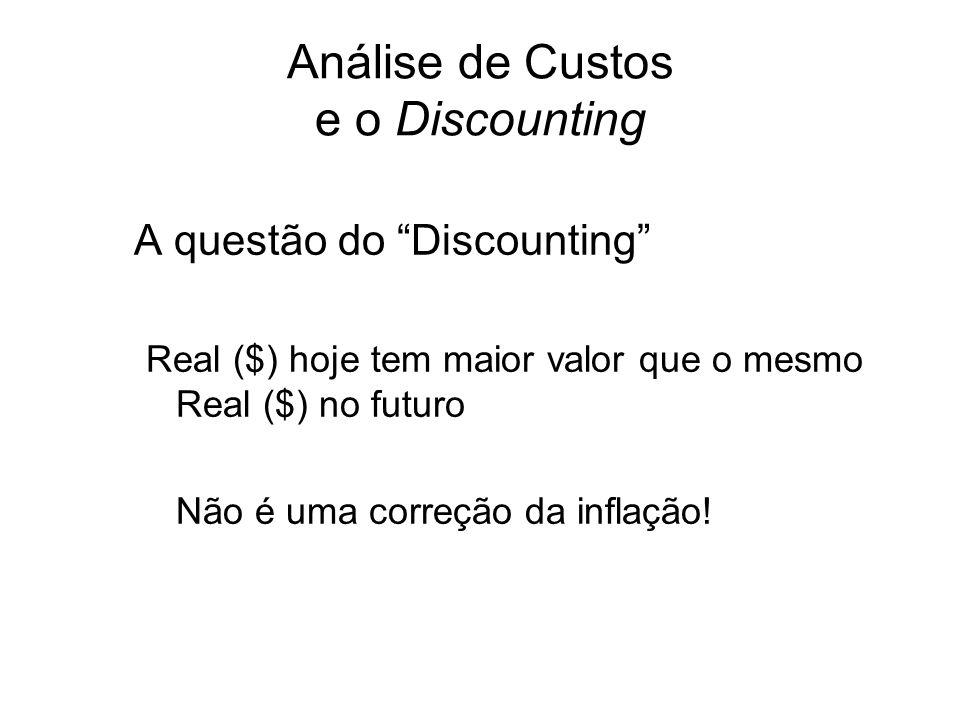 Análise de Custos e o Discounting A questão do Discounting Real ($) hoje tem maior valor que o mesmo Real ($) no futuro Não é uma correção da inflação