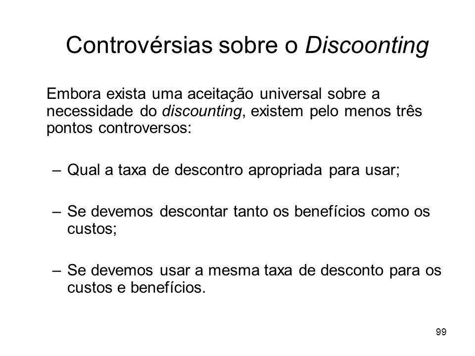 99 Controvérsias sobre o Discoonting Embora exista uma aceitação universal sobre a necessidade do discounting, existem pelo menos três pontos controve