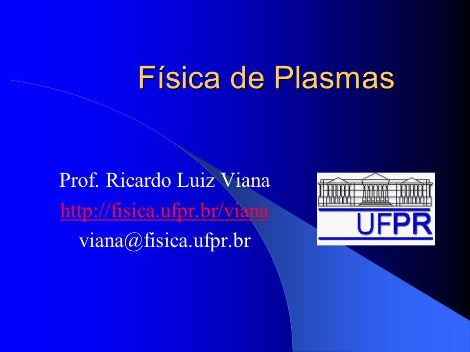 Ementa Ocorrência de plasmas na Natureza e em laboratório Movimento de partículas carregadas em campos eletromagnéticas Teorias de fluidos para plasmas Magneto-hidrodinâmica Ondas em plasmas