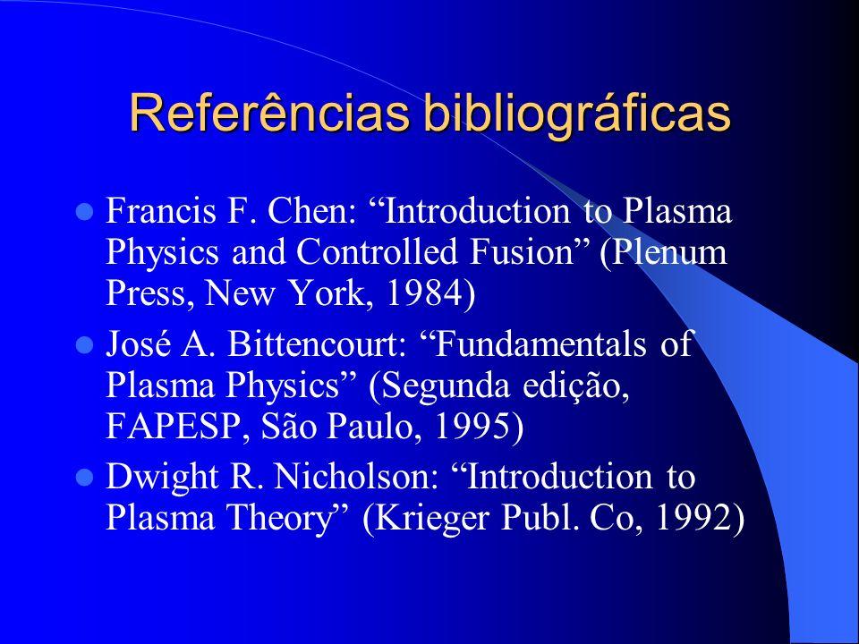 Objetivos Familiarizar o estudante com os conceitos básicos de Física de Plasmas Apresentar as principais aplicações de Plasmas em Tecnologia, Fusão Controlada, Astrofísica e Geofísica Mostrar aplicações físicas relevantes de conceitos aprendidos em Eletromagnetismo, Mecânica Clássica e Mecânica Estatística