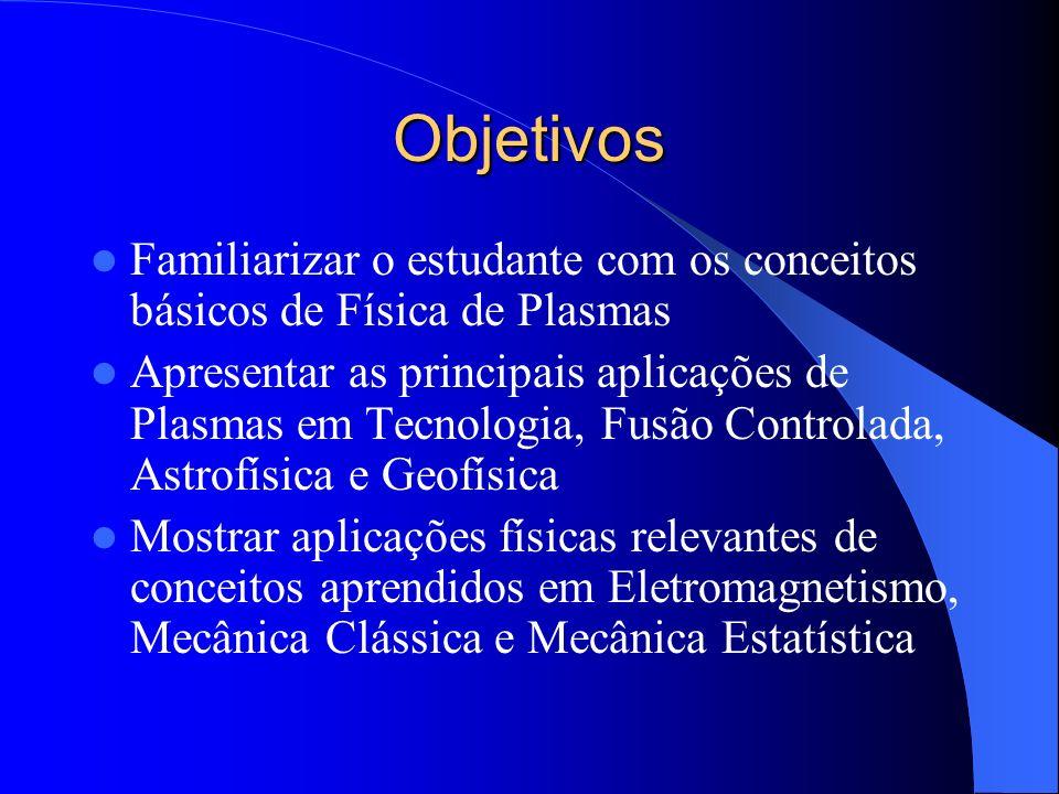 Objetivos Familiarizar o estudante com os conceitos básicos de Física de Plasmas Apresentar as principais aplicações de Plasmas em Tecnologia, Fusão C
