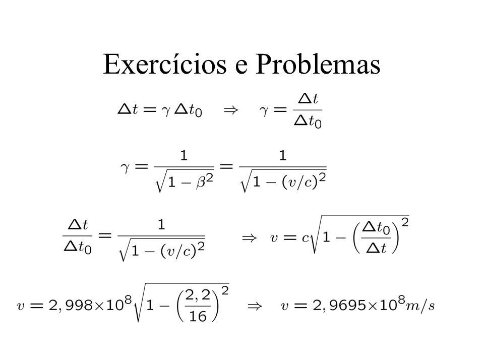 38.6 A relatividade das distâncias Medidas de comprimento de um corpo: - Em repouso: coordenadas das extremidades - Em movimento: simultaneamente (em nosso ref.) (observador em repouso A) (observador em movimento B) A B v ?