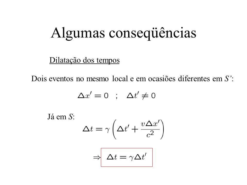 Algumas conseqüências Contração das distâncias Medidas simultâneas em S, i.