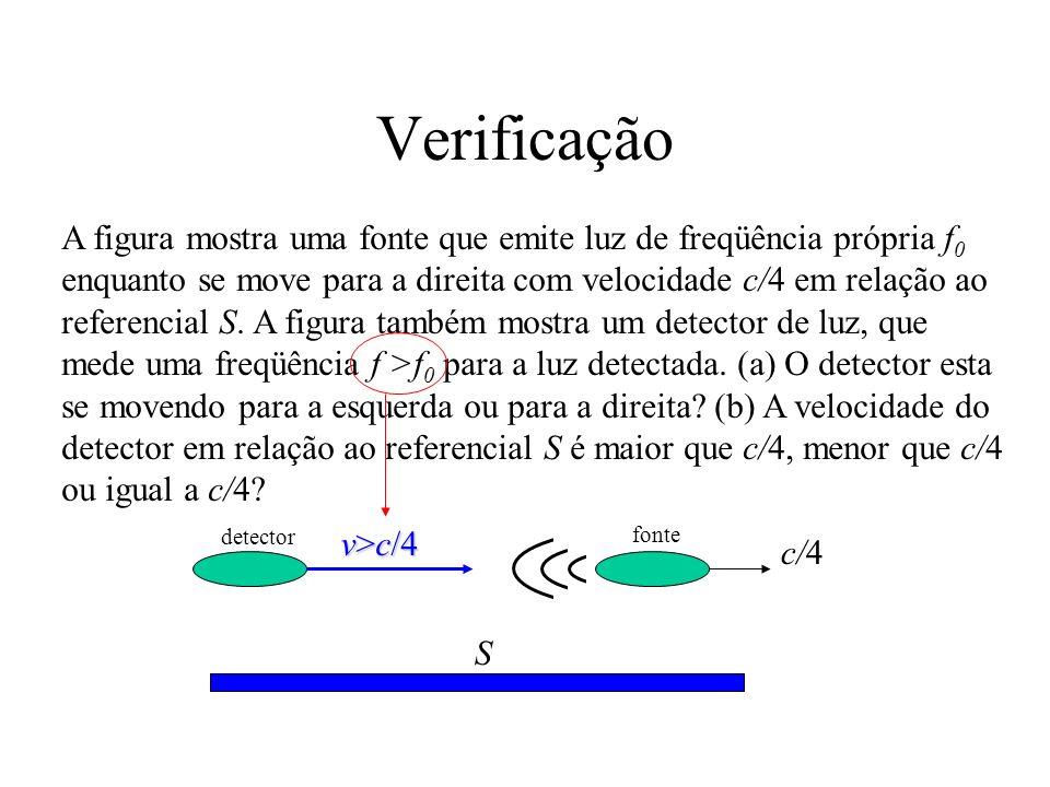 Efeito Doppler transversal D P S (efeito Doppler transversal) Dilatação dos tempos: Como T=1/f: