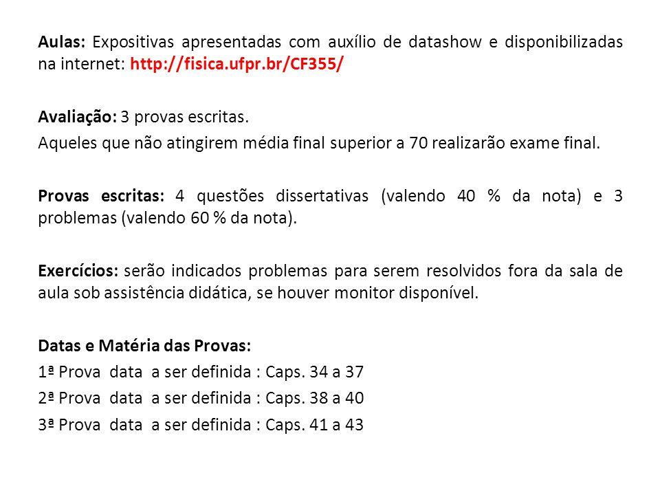 Aulas: Expositivas apresentadas com auxílio de datashow e disponibilizadas na internet: http://fisica.ufpr.br/CF355/ Avaliação: 3 provas escritas. Aqu
