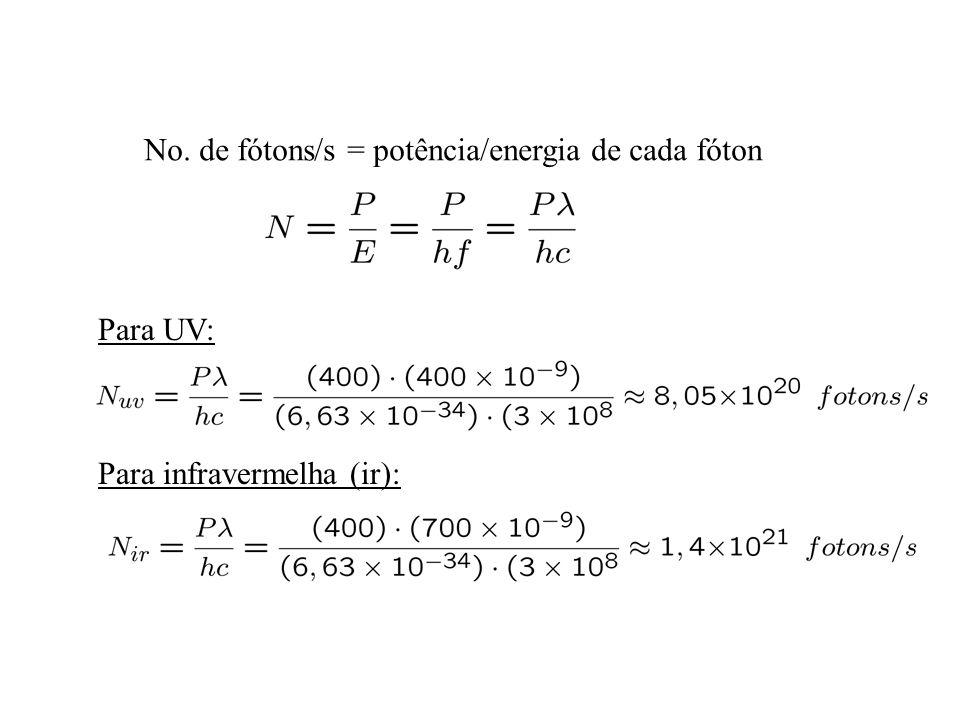 No. de fótons/s = potência/energia de cada fóton Para UV: Para infravermelha (ir):