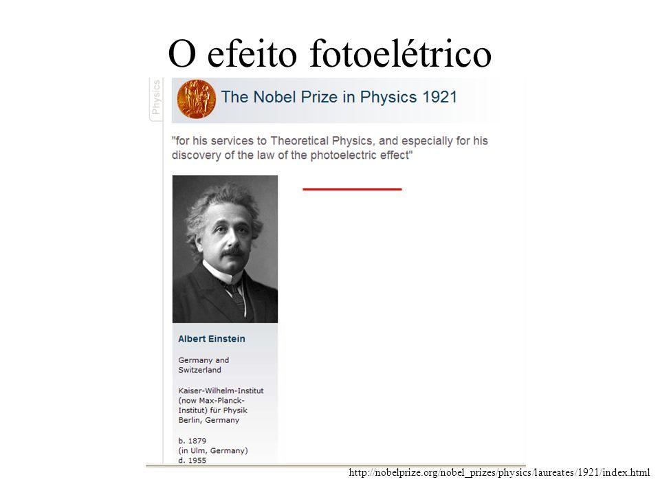 O efeito fotoelétrico http://nobelprize.org/nobel_prizes/physics/laureates/1921/index.html
