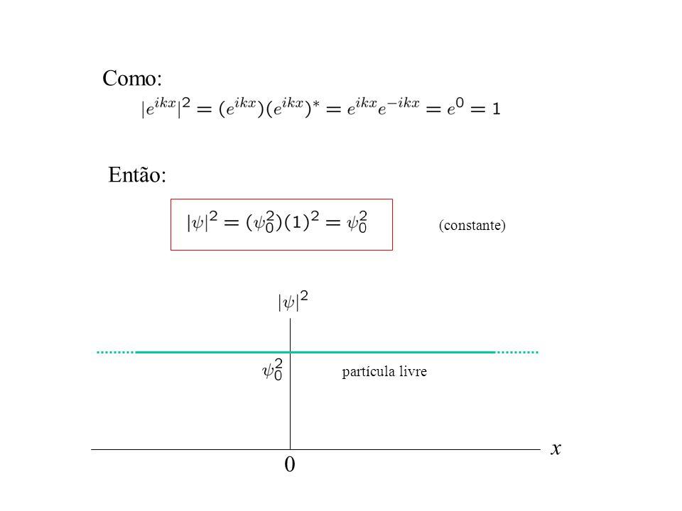 Como: Então: (constante) 0 x partícula livre