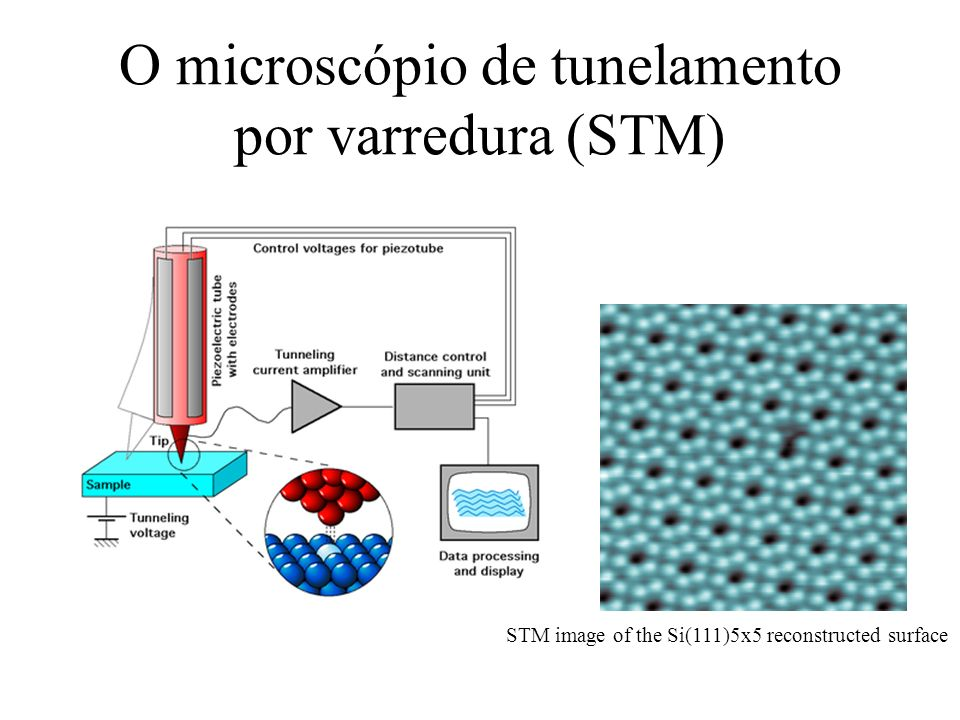 O microscópio de tunelamento por varredura (STM) STM image of the Si(111)5x5 reconstructed surface