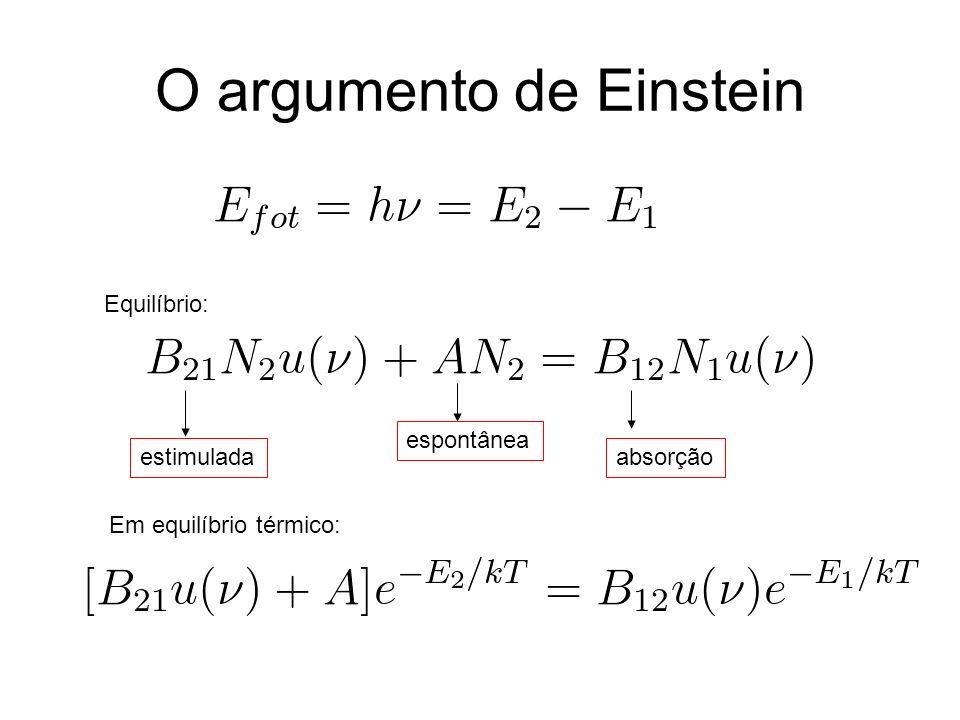 O argumento de Einstein Equilíbrio: espontânea estimuladaabsorção Em equilíbrio térmico: