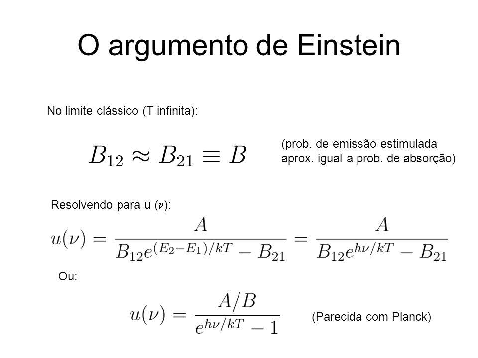 O argumento de Einstein No limite clássico (T infinita): (prob. de emissão estimulada aprox. igual a prob. de absorção) Resolvendo para u ( ): Ou: (Pa
