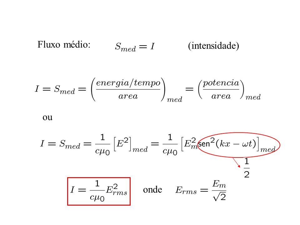 Fluxo médio: (intensidade) ou onde
