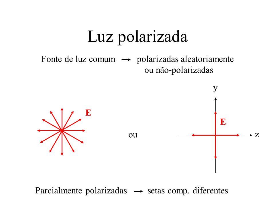 Luz polarizada y z E Fonte de luz comum polarizadas aleatoriamente ou não-polarizadas E ou Parcialmente polarizadas setas comp. diferentes