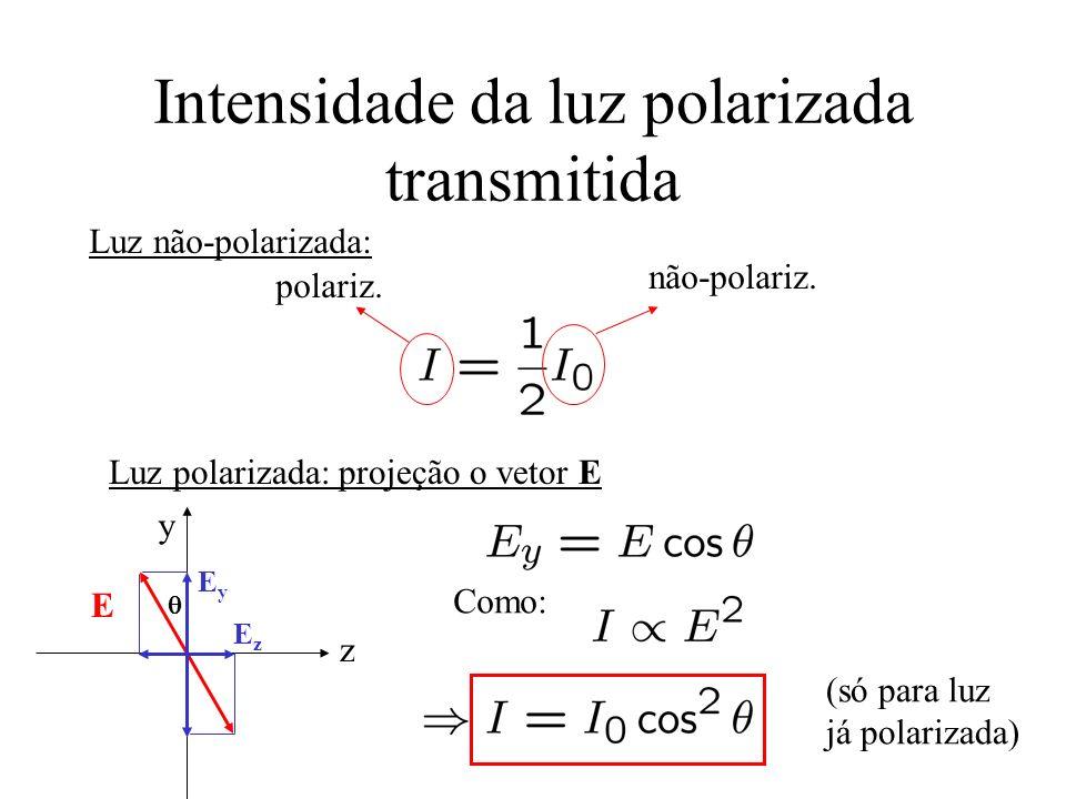 Intensidade da luz polarizada transmitida polariz. não-polariz. Luz não-polarizada: Luz polarizada: projeção o vetor E y z E EyEy EzEz Como: (só para