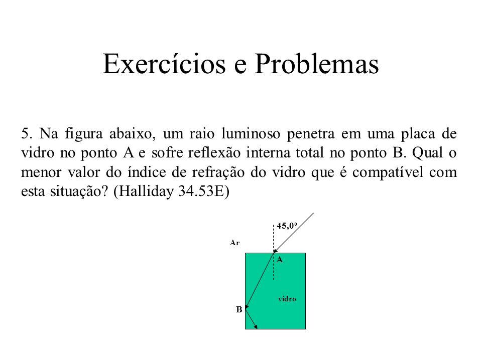 Exercícios e Problemas 5. Na figura abaixo, um raio luminoso penetra em uma placa de vidro no ponto A e sofre reflexão interna total no ponto B. Qual