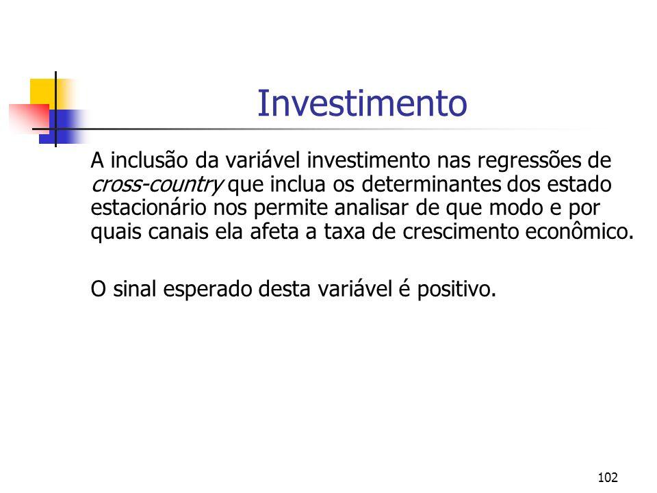 102 Investimento A inclusão da variável investimento nas regressões de cross-country que inclua os determinantes dos estado estacionário nos permite a