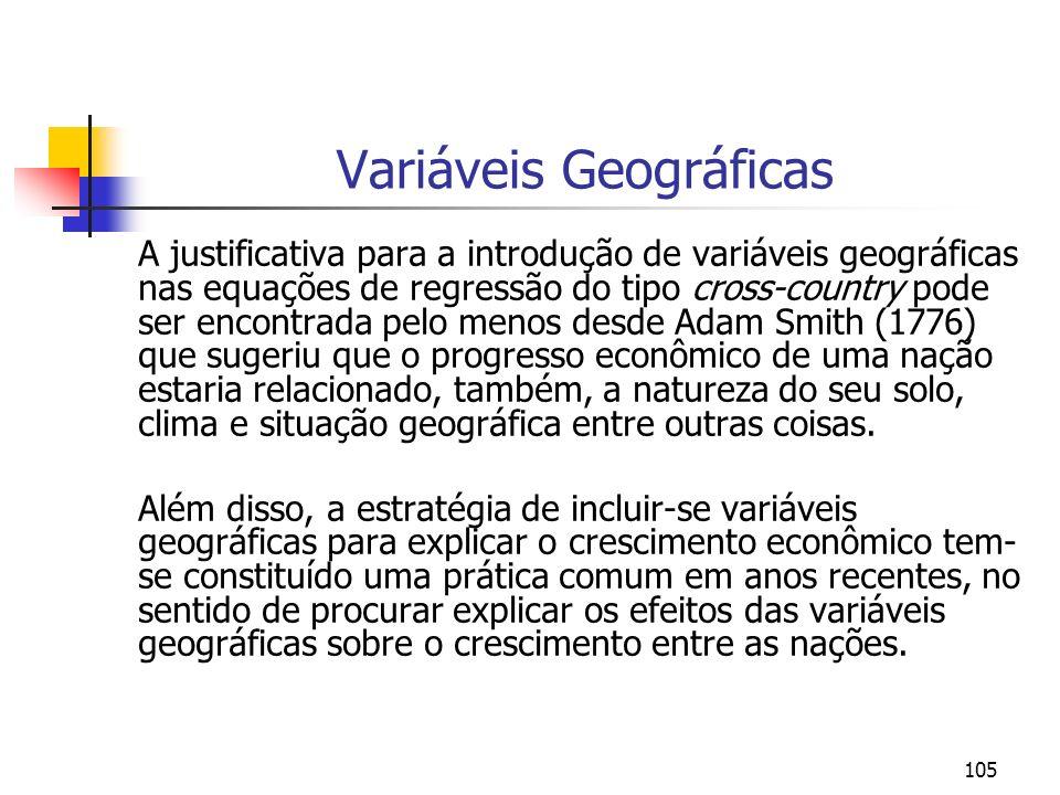 105 Variáveis Geográficas A justificativa para a introdução de variáveis geográficas nas equações de regressão do tipo cross-country pode ser encontra
