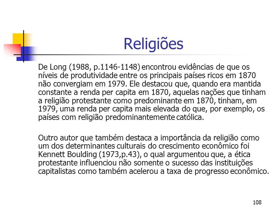 108 Religiões De Long (1988, p.1146-1148) encontrou evidências de que os níveis de produtividade entre os principais países ricos em 1870 não convergi