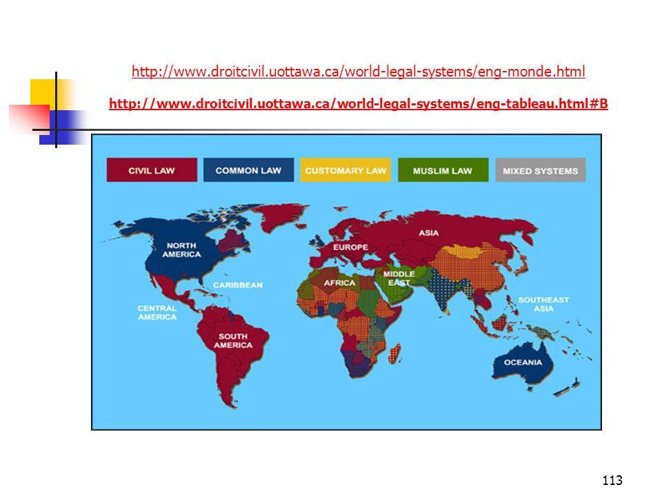 113 http://www.droitcivil.uottawa.ca/world-legal-systems/eng-monde.html http://www.droitcivil.uottawa.ca/world-legal-systems/eng-tableau.html#B