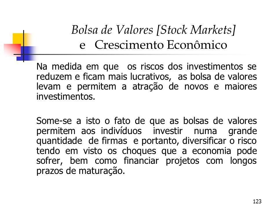 123 Bolsa de Valores [Stock Markets] e Crescimento Econômico Na medida em que os riscos dos investimentos se reduzem e ficam mais lucrativos, as bolsa