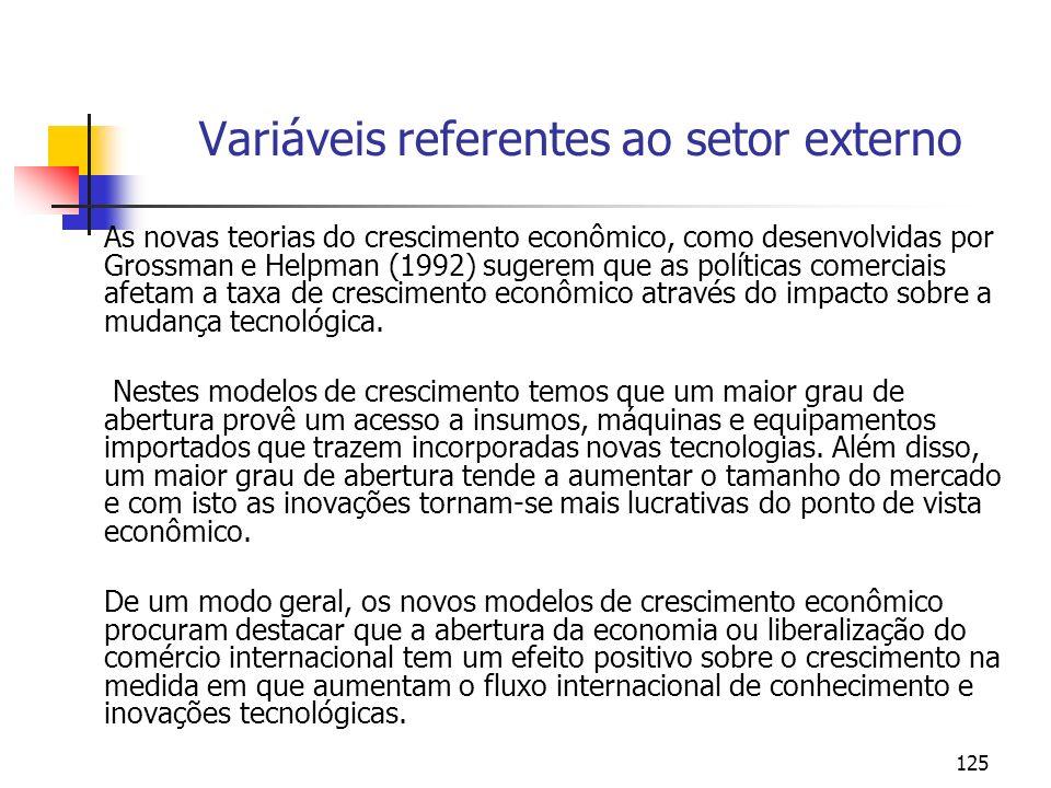 125 Variáveis referentes ao setor externo As novas teorias do crescimento econômico, como desenvolvidas por Grossman e Helpman (1992) sugerem que as p