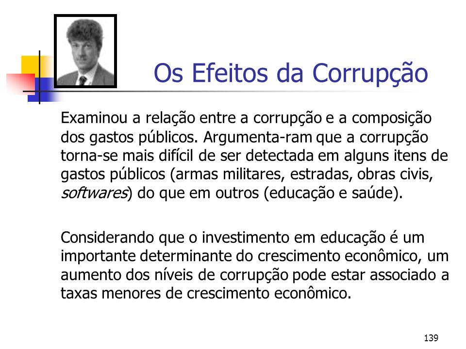 139 Os Efeitos da Corrupção Examinou a relação entre a corrupção e a composição dos gastos públicos. Argumenta-ram que a corrupção torna-se mais difíc