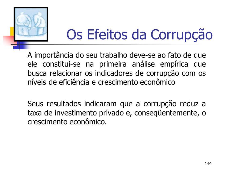 144 Os Efeitos da Corrupção A importância do seu trabalho deve-se ao fato de que ele constitui-se na primeira análise empírica que busca relacionar os