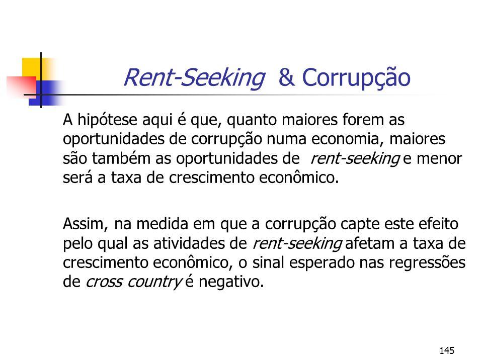 145 Rent-Seeking & Corrupção A hipótese aqui é que, quanto maiores forem as oportunidades de corrupção numa economia, maiores são também as oportunida