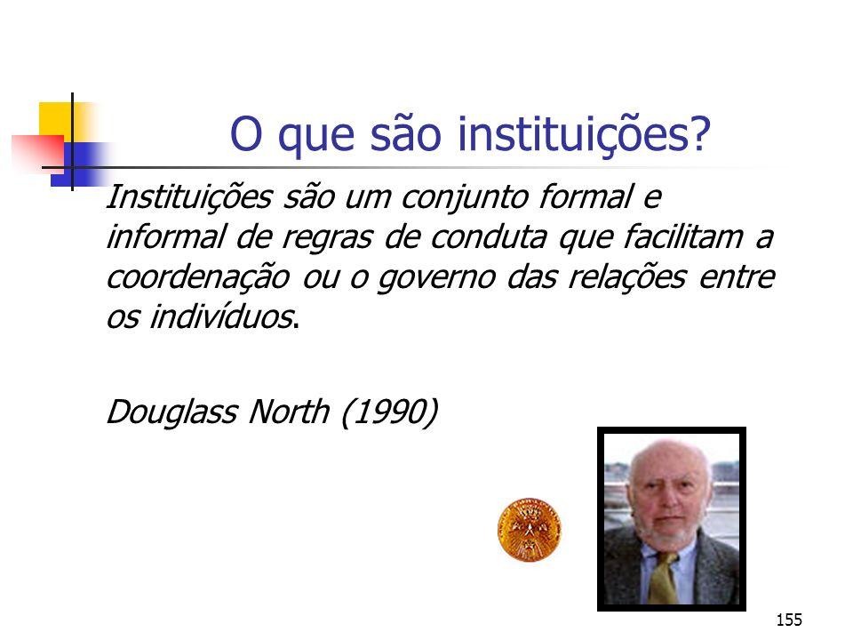 155 O que são instituições? Instituições são um conjunto formal e informal de regras de conduta que facilitam a coordenação ou o governo das relações