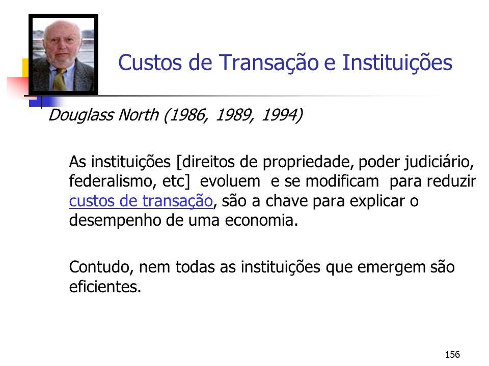 156 Custos de Transação e Instituições Douglass North (1986, 1989, 1994) As instituições [direitos de propriedade, poder judiciário, federalismo, etc]