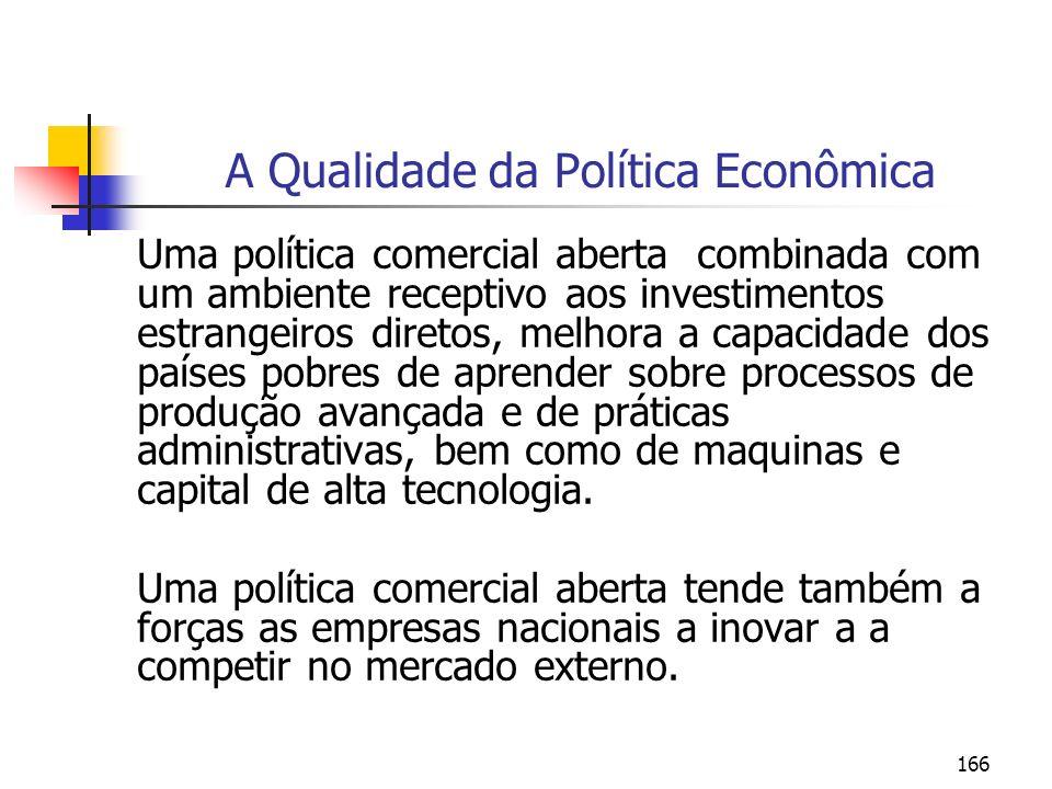 166 A Qualidade da Política Econômica Uma política comercial aberta combinada com um ambiente receptivo aos investimentos estrangeiros diretos, melhor