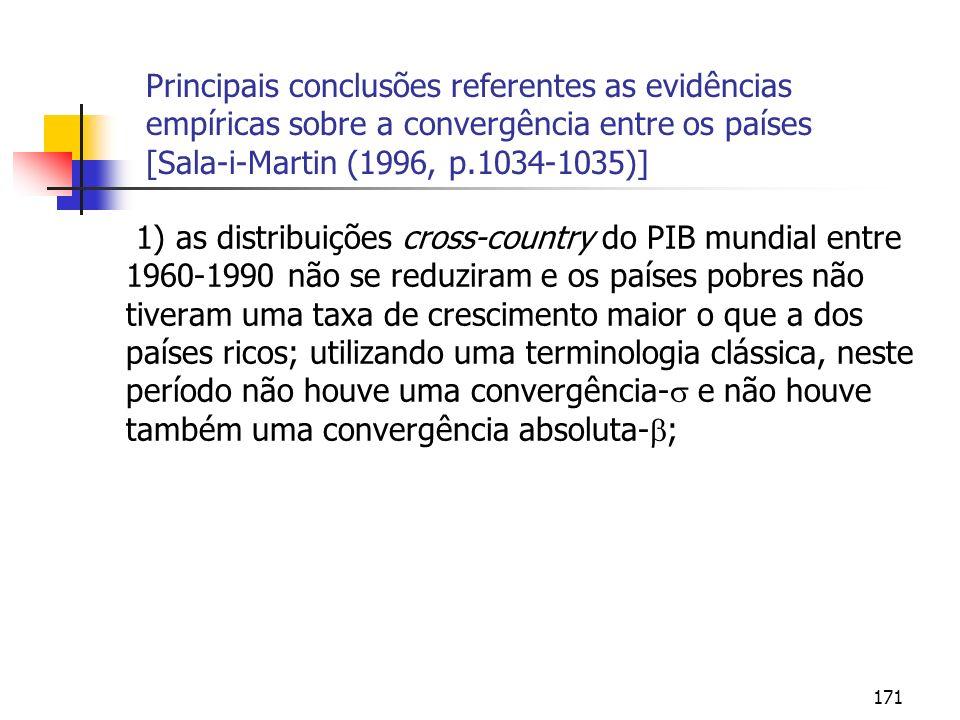 171 Principais conclusões referentes as evidências empíricas sobre a convergência entre os países [Sala-i-Martin (1996, p.1034-1035)] 1) as distribuiç