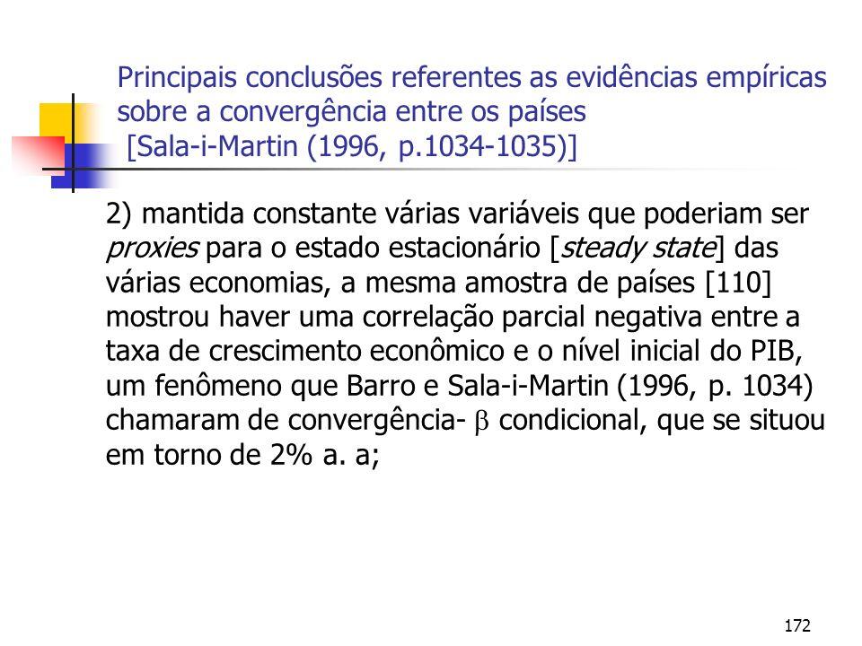172 Principais conclusões referentes as evidências empíricas sobre a convergência entre os países [Sala-i-Martin (1996, p.1034-1035)] 2) mantida const