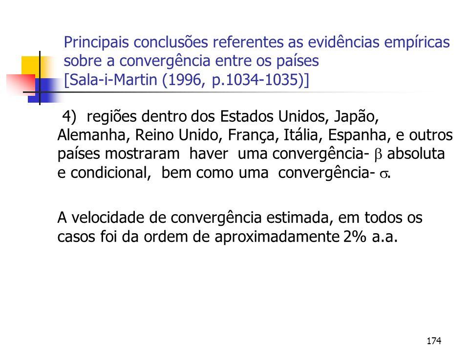 174 Principais conclusões referentes as evidências empíricas sobre a convergência entre os países [Sala-i-Martin (1996, p.1034-1035)] 4) regiões dentr