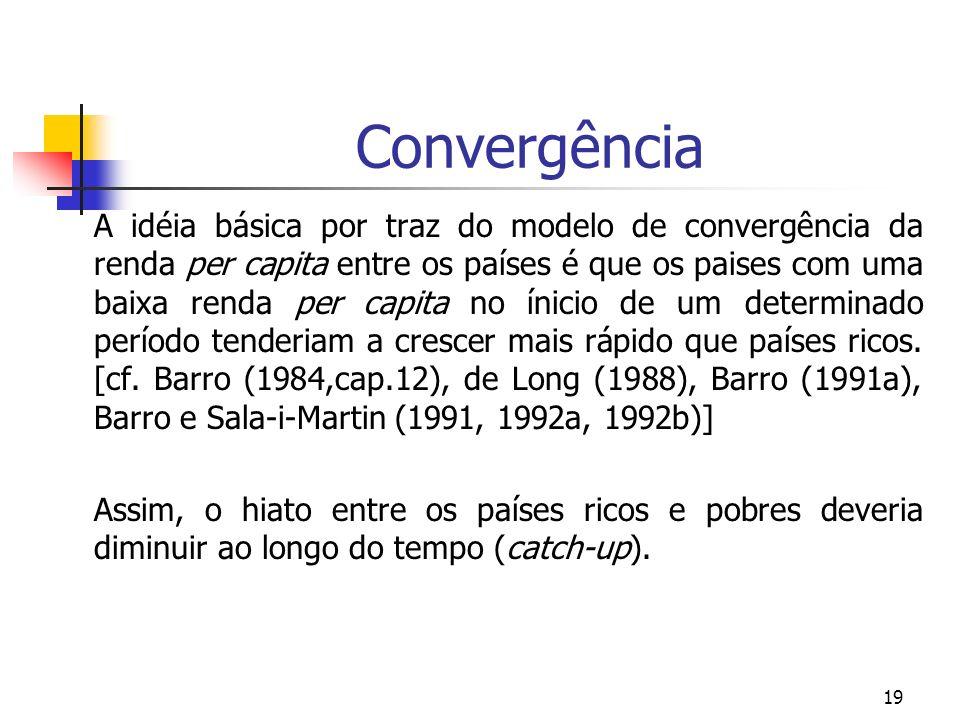 19 Convergência A idéia básica por traz do modelo de convergência da renda per capita entre os países é que os paises com uma baixa renda per capita n