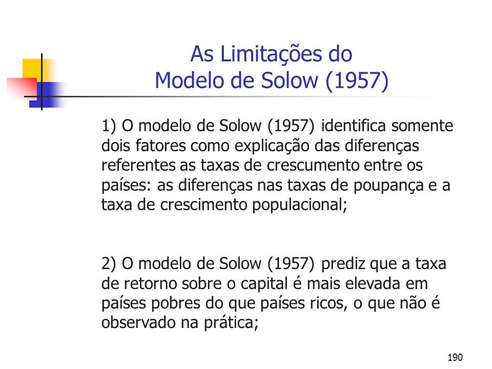 190 As Limitações do Modelo de Solow (1957) 1) O modelo de Solow (1957) identifica somente dois fatores como explicação das diferenças referentes as t