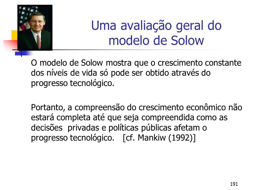 191 Uma avaliação geral do modelo de Solow O modelo de Solow mostra que o crescimento constante dos níveis de vida só pode ser obtido através do progr