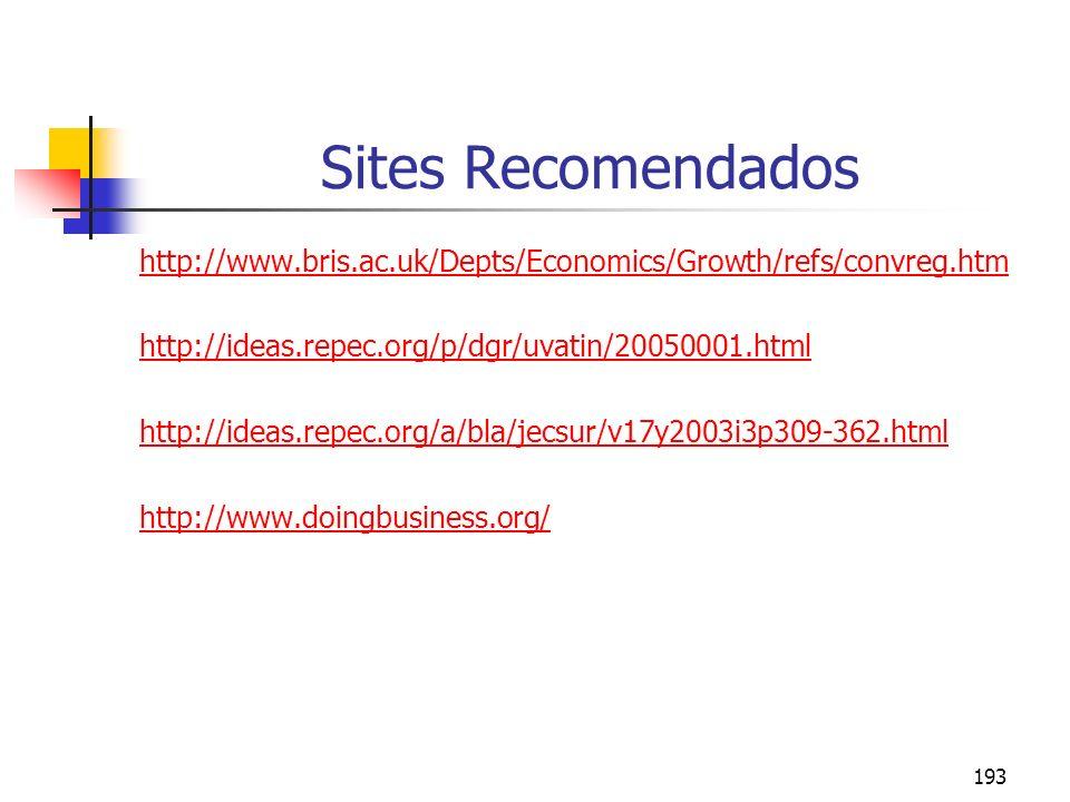 193 Sites Recomendados http://www.bris.ac.uk/Depts/Economics/Growth/refs/convreg.htm http://ideas.repec.org/p/dgr/uvatin/20050001.html http://ideas.re